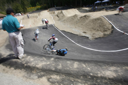 Alex Howden Crashes during a BMX race in Langford, BC.  His tire went flat on the second turn -- the flat was caused by a collision with a downed rider earlier in the race.