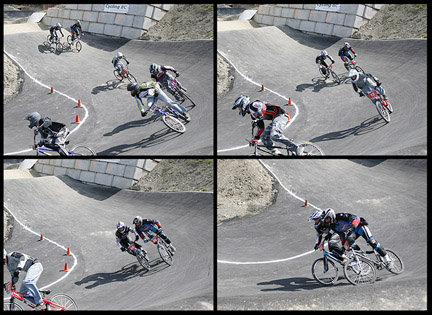 Alex Howden (no.56 with black and gray helmet) Gets a flat tire at a BMX competition in Langford, BC.