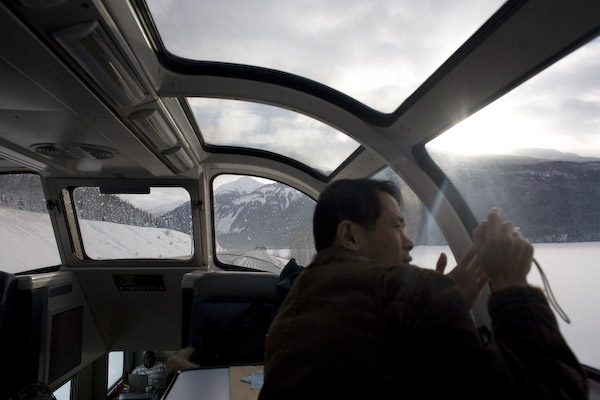 Taking pictures in the Dome Car near Jasper, Alberta.