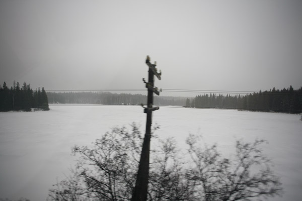 Telegraph Pole from train window, Dec 26 2007